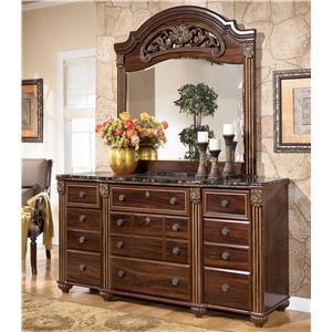 Signature Design by Ashley Furniture Gabriela 9 Drawer Dresser with Mirror