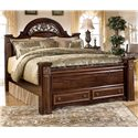 Signature Design by Ashley Gabriela Queen Poster Storage Bed - Item Number: B347-67+64S+98+50
