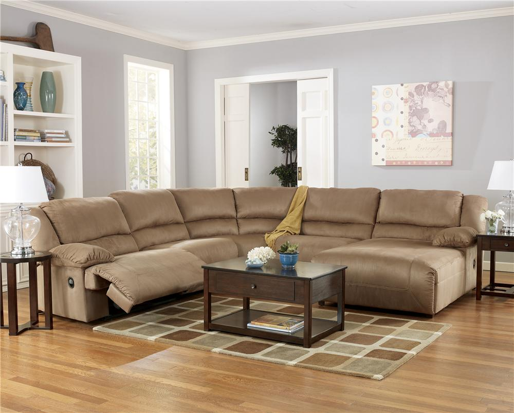 Signature Design By Ashley Hogan   Mocha 5 Piece Sectional Sofa Group With  Chaise   Item
