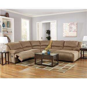Signature Design by Ashley Hogan - Mocha 5 Piece Sectional Sofa Group with Chaise