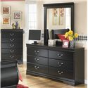 Signature Design by Ashley Huey Vineyard Dresser Mirror - Mirror Shown on Dresser with Chest in Background.