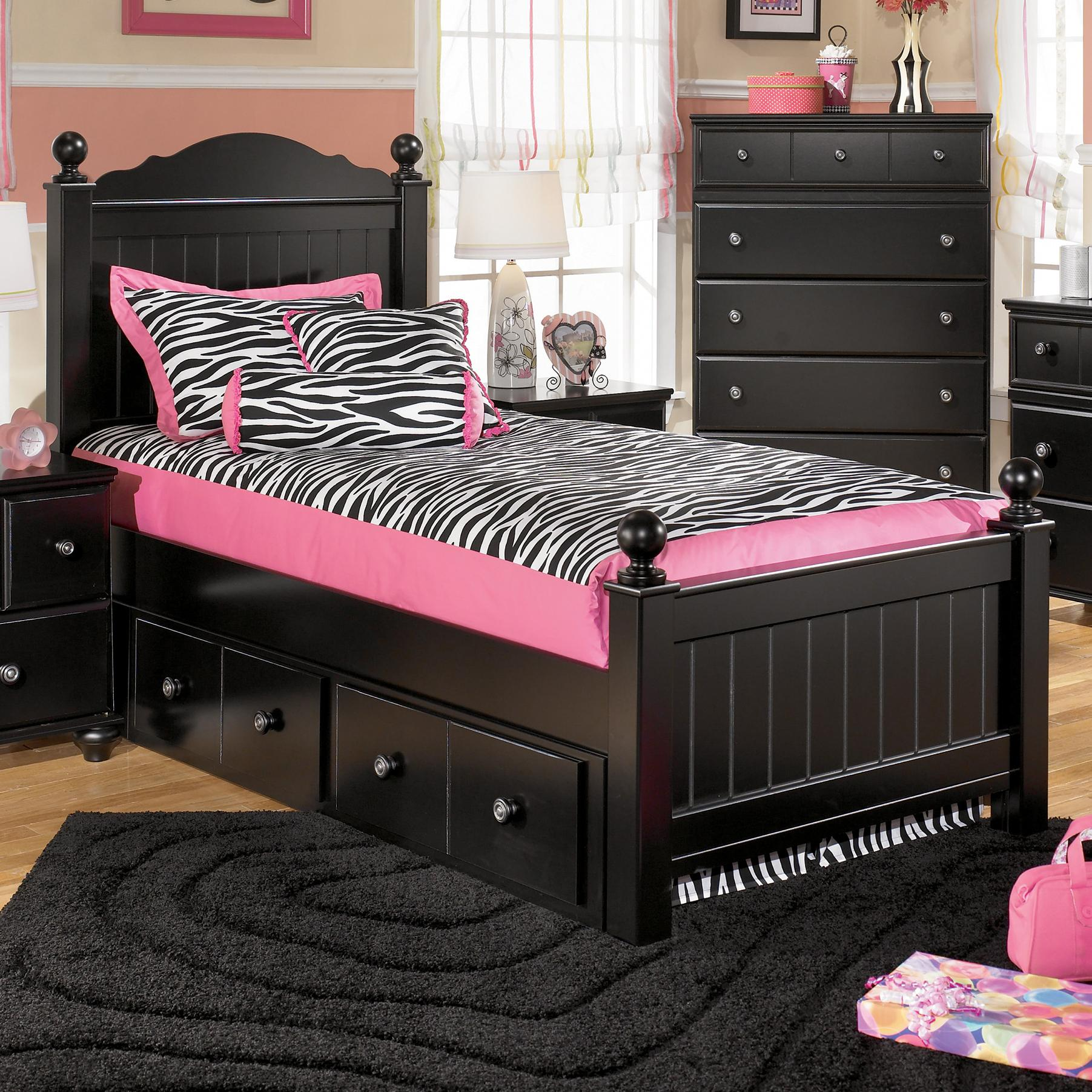 Signature Design by Ashley Jaidyn Twin Poster Bed with Underbed Storage - Item Number: B150-53+52+83+60