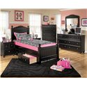 Signature Design by Ashley Jaidyn Twin Poster Bed with Underbed Storage - Detail of Storage Drawer. Shown with Night Stand, Chest, Dresser, and Mirror.