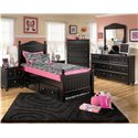 Signature Design by Ashley Jaidyn Twin Poster Bed with Underbed Storage - Shown with Night Stand, Chest, Dresser, and Mirror.
