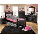 Signature Design by Ashley Jaidyn Twin Poster Headboard and Footboard Bed - Shown with Night Stand, Chest, Dresser, and Mirror