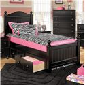 Signature Design by Ashley Jaidyn Twin Poster Headboard and Footboard Bed - Shown with Underbed Storage