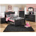 Signature Design by Ashley Jaidyn Full Poster Bed with Underbed Storage - Shown with Night Stand, Chest, Dresser, and Mirror
