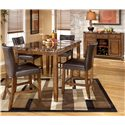Signature Design by Ashley Lacey 5-Piece Counter Height Table & Bar Stools Set - Shown with Server