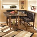 Signature Design by Ashley Lacey Faux Marble Square Counter Height Pub Table - Shown with Corner Stool and Double Stools