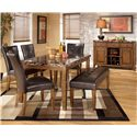 Signature Design by Ashley Lacey Server with Wine Rack - Shown with Rectangular Dining Table, Side Chairs, and Double Backless Stool