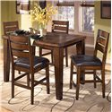 Signature Design by Ashley Larchmont Pub Table and 4 Bar Stools - Item Number: D442-32+4x124