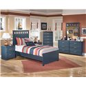 Signature Design by Ashley Leo Twin Panel Headboard and Footboard Bed - Shown with Night Stand, Chest, Dresser, and Mirror