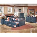 Signature Design by Ashley Leo Twin Bed with Trundle Drawer Box - Shown with Night Stand, Chest, Dresser, and Mirror