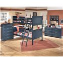 Signature Design by Ashley Leo Twin/Twin Bunk Bed - Shown with Chest, Night Stand, Dresser, and Mirror