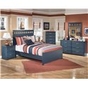 Signature Design by Ashley Leo Full Panel Headboard and Footboard Bed - Shown with Night Stand, Chest, Dresser, and Mirror