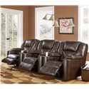 Signature Design by Ashley Paramount DuraBlend® - Brindle Power 3-Piece Reclining Home Theater Group with Cup Holders - Shown with Recliners Activated