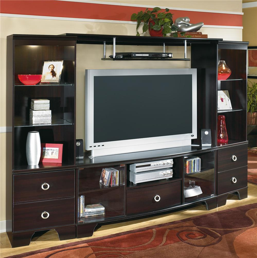 Signature Design by Ashley Pinella Entertainment Wall Unit - Item Number: W403-24+25+60
