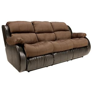 Signature Design by Ashley Presley - Espresso Reclining Sofa w/ Drop Down Table