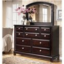 Signature Design by Ashley Ridgley 10 Drawer Dresser - Shown with Mirror
