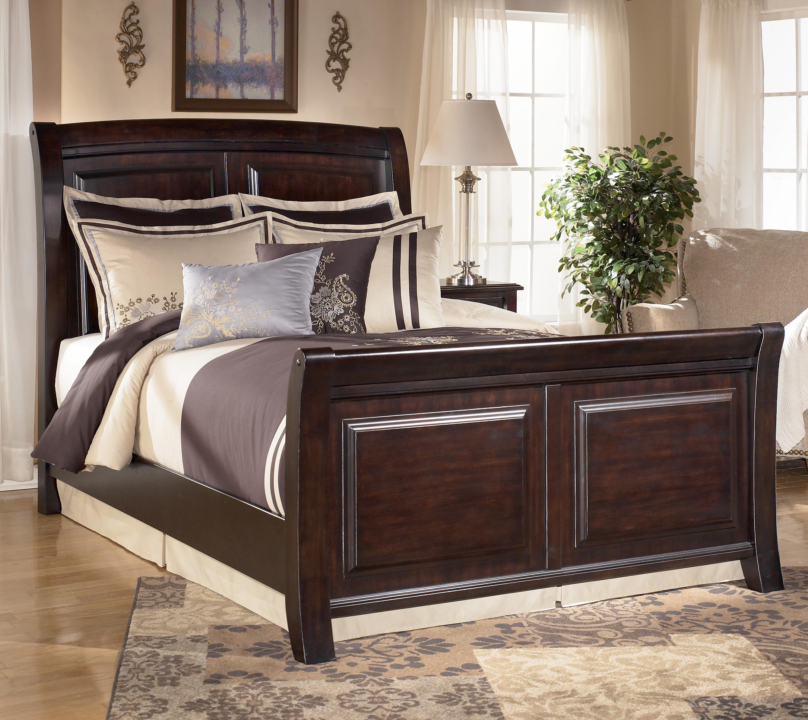 Signature Design by Ashley Ridgley Queen Sleigh Bed - Item Number: B520-74+77+98
