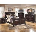 Signature Design by Ashley Ridgley Queen Sleigh Bed - Shown with Nightstand, TV Chest, Dresser & Mirror