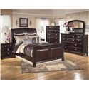 Signature Design by Ashley Ridgley Queen Sleigh Bed - Shown with Nightstand, Chest, Dresser & Mirror