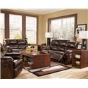 Signature Design by Ashley Furniture Rouge DuraBlend - Mahogany Power Rocker Recliner - Shown with Loveseat and Sofa