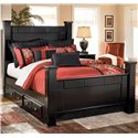 Signature Design by Ashley Shay Queen Poster Bed with Underbed Storage - Item Number: B271-67+64+61+50