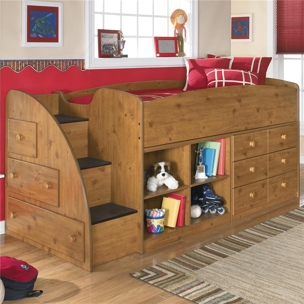 Signature Design By Ashley Stages Twin Loft Bed With Left Storage Steps,  Bookcase U0026 Chest   AHFA   Loft Bed Dealer Locator