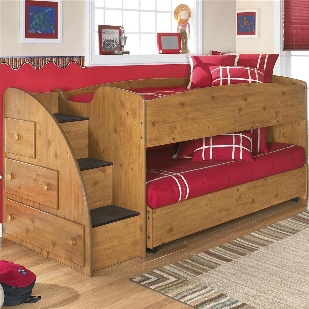 Signature Design By Ashley Stages Twin Loft Bed With Caster Bed And Left  Storage Steps   AHFA   Loft Bed Dealer Locator