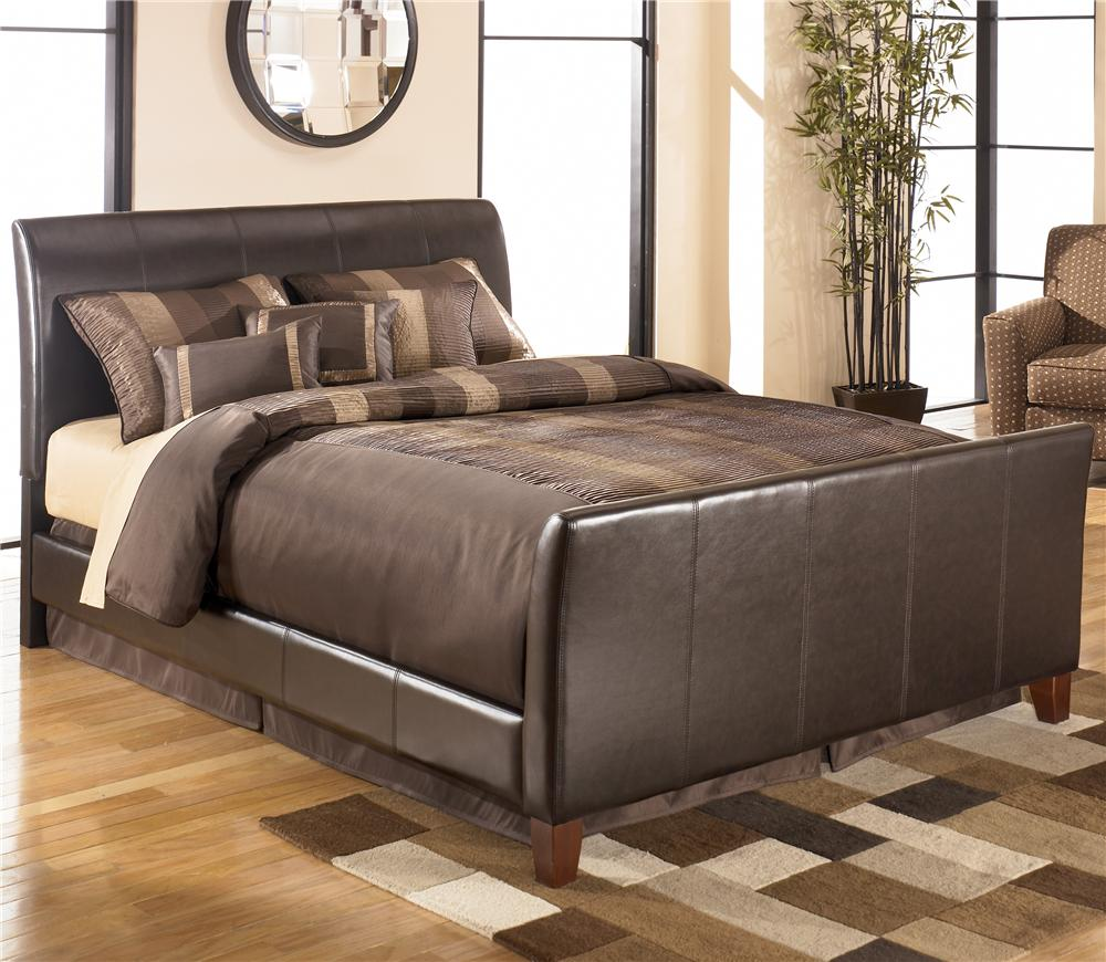 Signature Design by Ashley Stanwick Queen Faux Leather Upholstered Bed - Item Number: B465-81+96