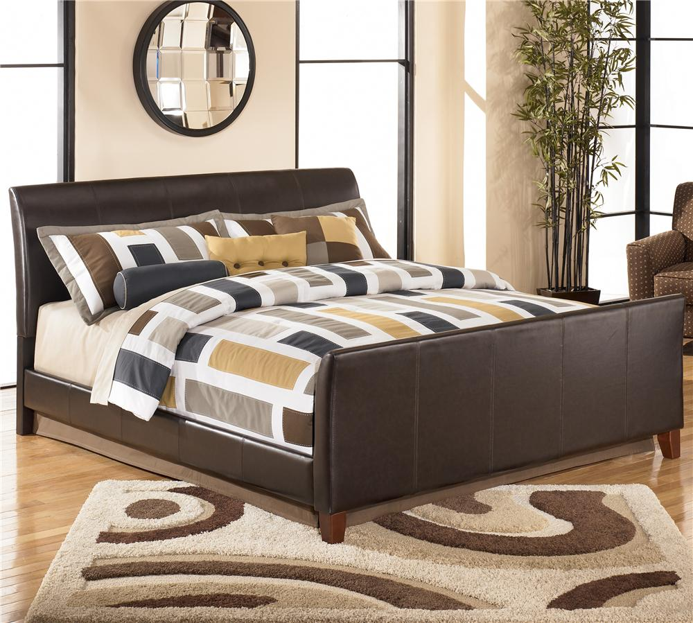 Signature Design by Ashley Stanwick King Faux Leather Upholstered Bed - Item Number: B465-82+97