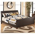 Signature Design by Ashley Stanwick King Faux Leather Upholstered Sleigh Bed - King Size Shown