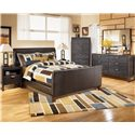 Signature Design by Ashley Stanwick King Faux Leather Upholstered Sleigh Bed