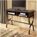 Signature Design by Ashley Zander Sofa/Console Table with Slate Inlay and Metal Base - Table Being Used as Media Console