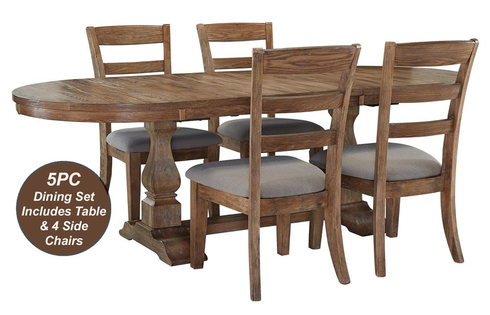 Signature Design by Ashley Davenport 5-Piece Dining Table & Chair Set - Item Number: D473-45B+T+4x01