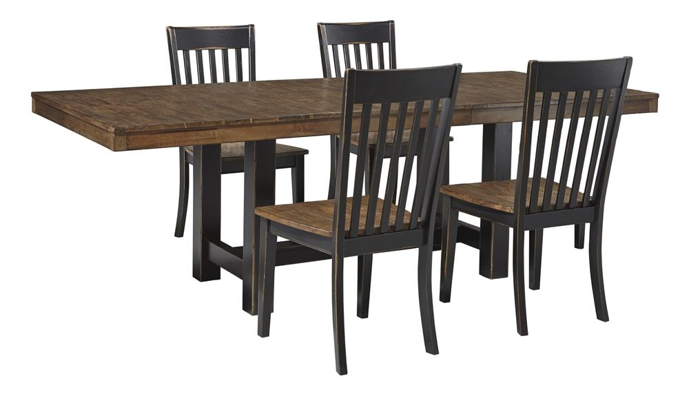 Signature Design by Ashley Emerfield 5 Piece Two-Tone Dining Table Set - Item Number: D563-35+4x-01