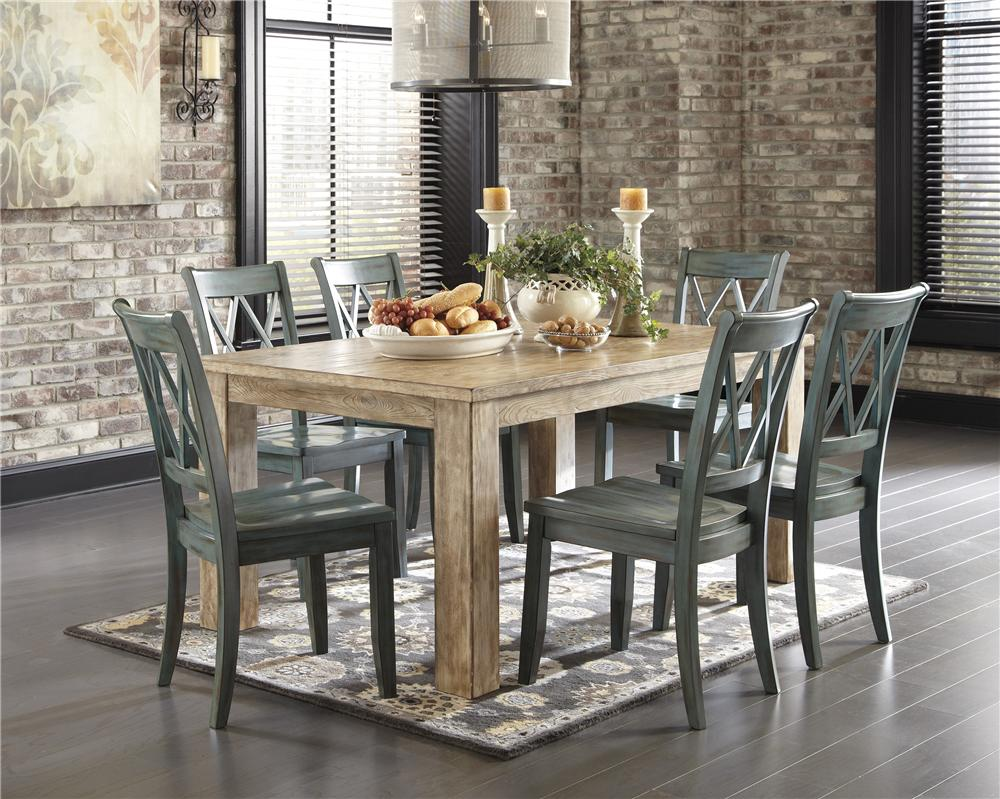 Signature Design by Ashley Mestler 5-Piece Table Set with Antique Blue Chrs - Item Number: D540-225-101X4