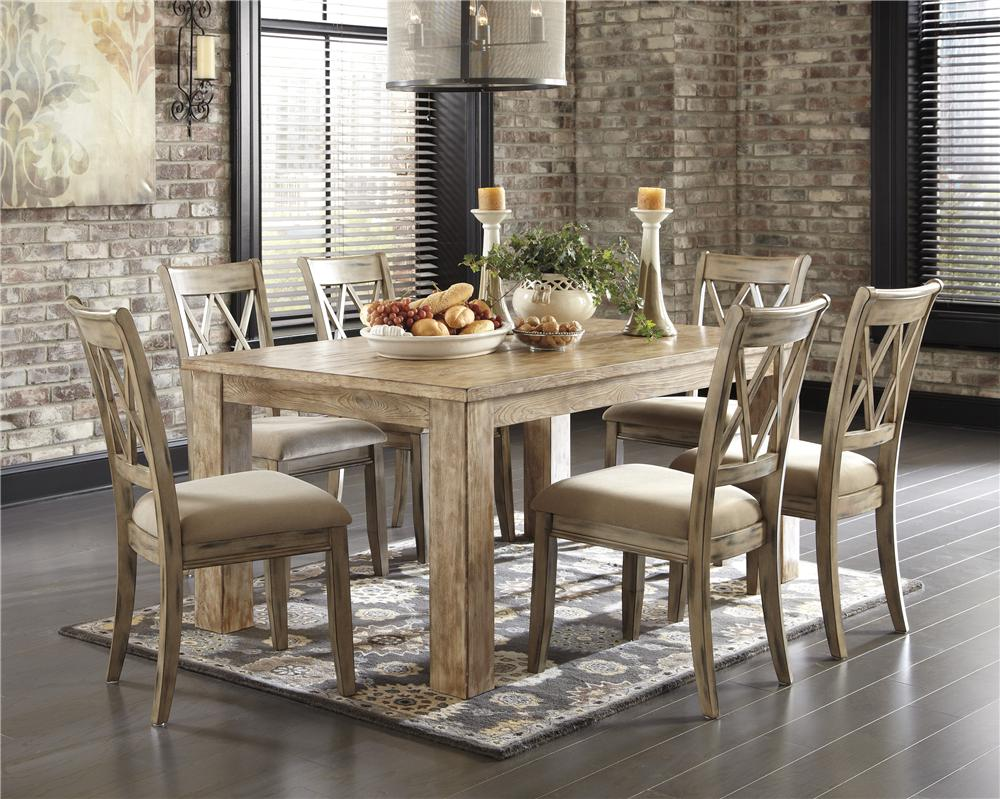Signature Design by Ashley Mestler 5-Piece Table Set with Antique White Chr - Item Number: D540-225-102x4
