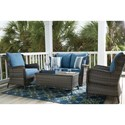 Signature Design by Ashley Abbots Court Outdoor Conversation Set - Item Number: P360-035+820