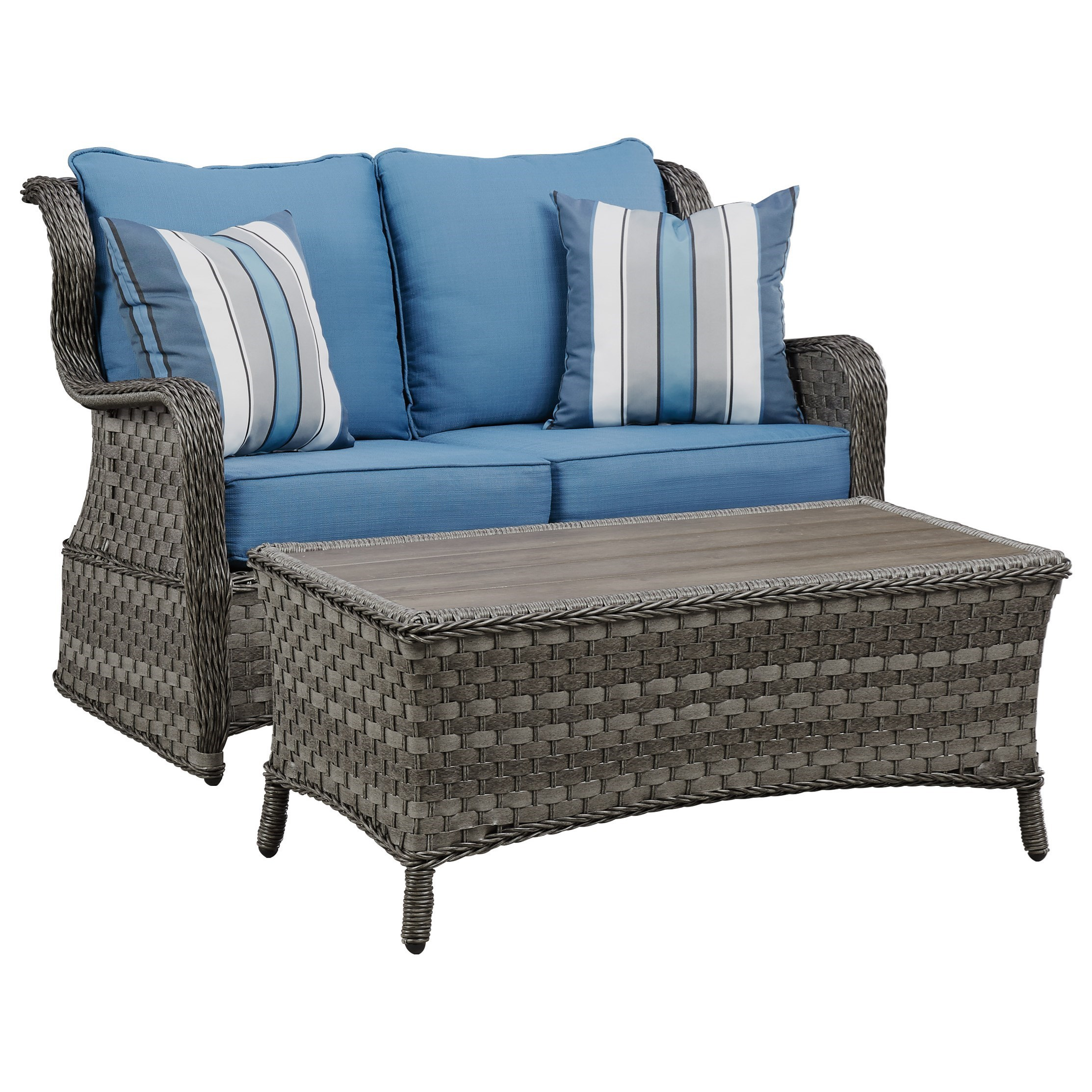 Ashley (Signature Design) Abbots Court Outdoor Loveseat Glider w/ Table - Item Number: P360-035