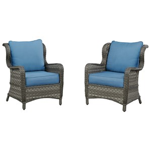 Signature Design by Ashley Abbots Court Set of 2 Outdoor Lounge Chairs w/ Cushion