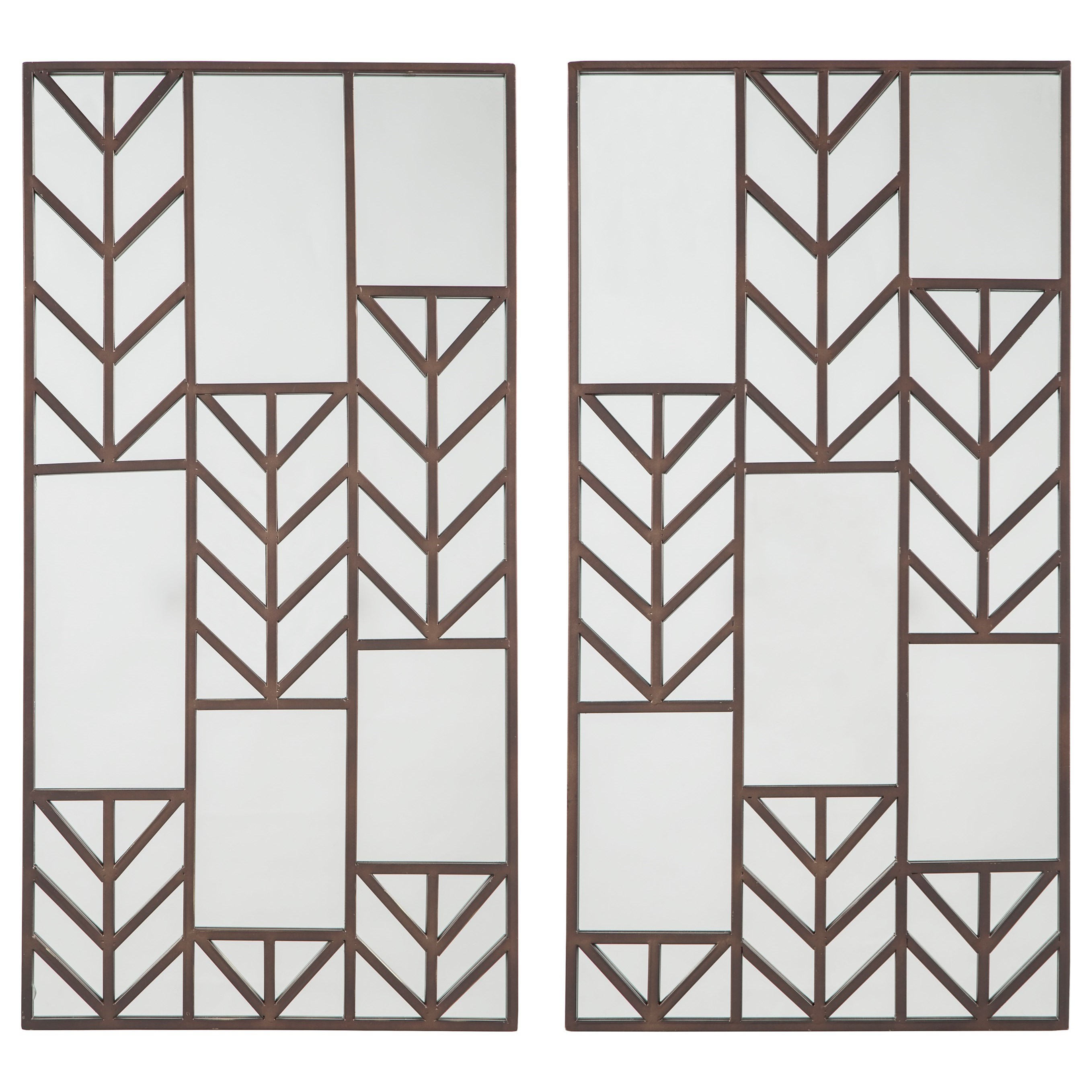 Signature Design by Ashley Accent Mirrors Daniela Antique Bronze Finish Mirror Set  - Item Number: A8010033