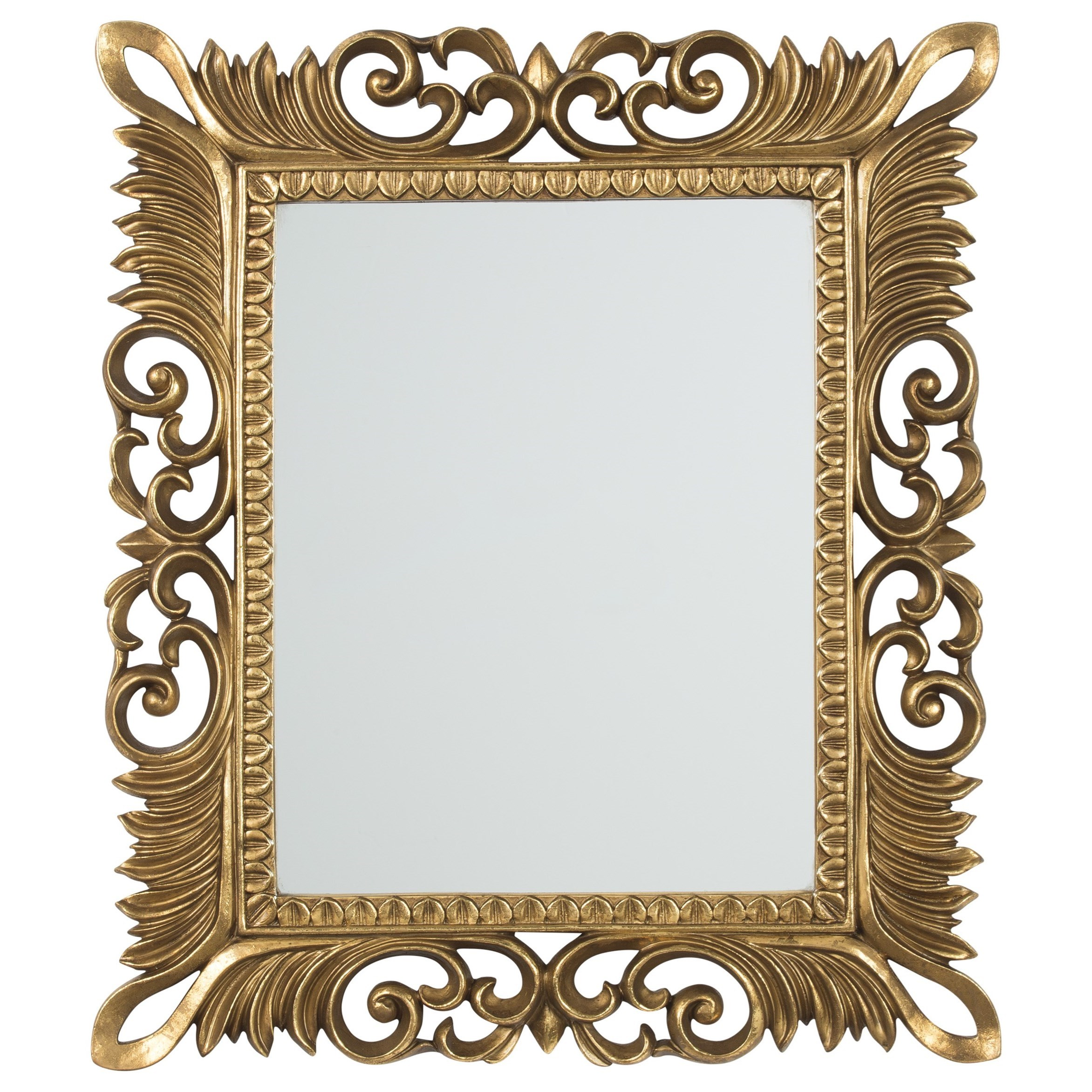 Signature Design by Ashley Accent Mirrors Denisha Antique Gold Finish Accent Mirror - Item Number: A8010049