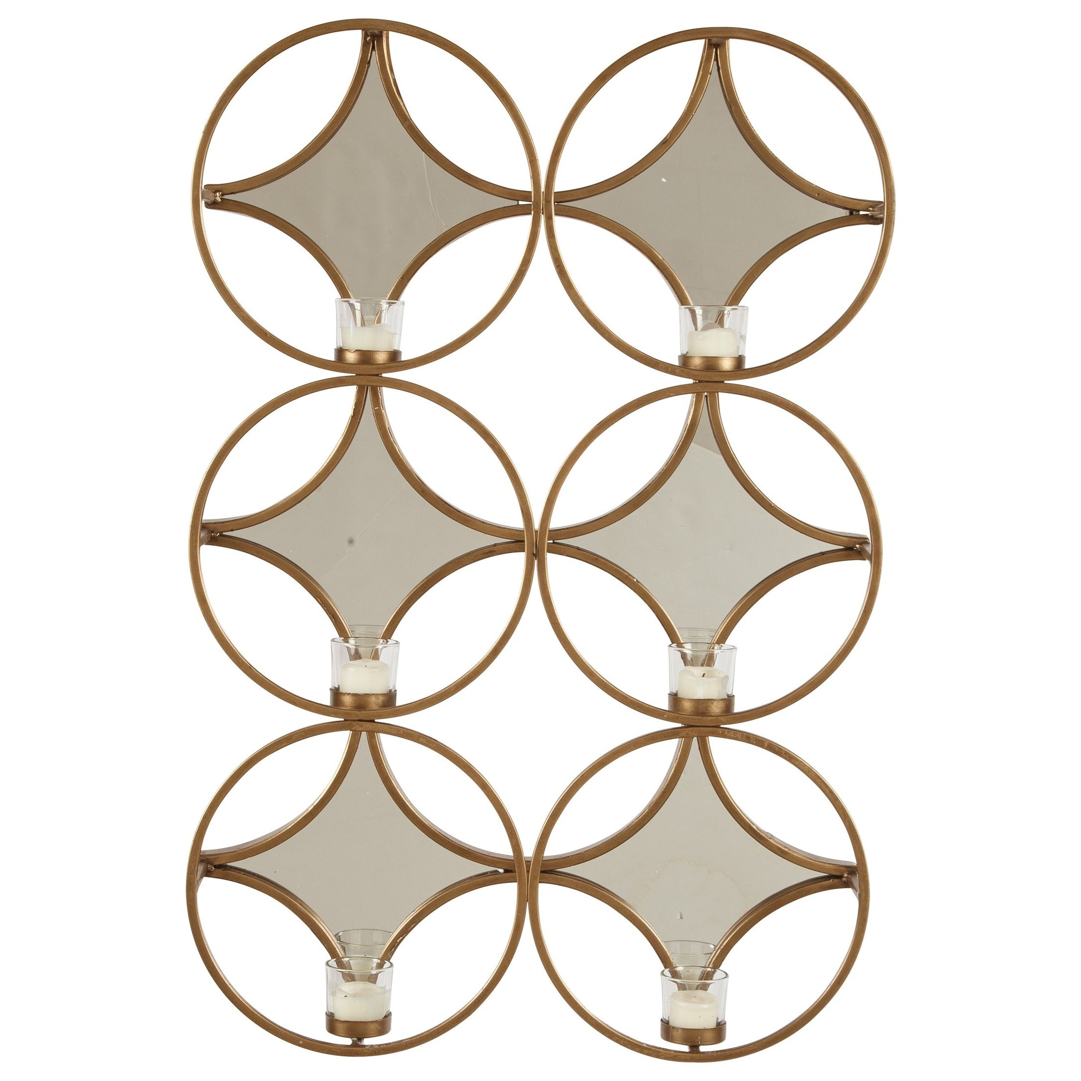 Ashley Signature Design Accent Mirrors Emilia Gold Finish Wall Sconce - Item Number: A8010157