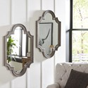 Signature Design by Ashley Accent Mirrors Williamette Antique Gray Accent Mirror - Two Mirrors Shown