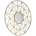 Signature Design by Ashley Accent Mirrors Bulana Round Gold Finish Accent Mirror
