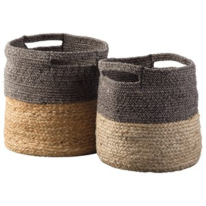 Ashley Signature Design Accents Parrish Natural/Black Basket Set