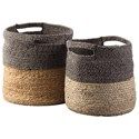 Ashley (Signature Design) Accents Parrish Natural/Black Basket Set - Item Number: A2000095