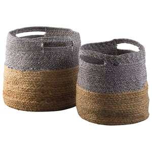 Ashley Signature Design Accents Parrish Natural/Blue Basket Set